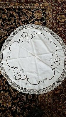 "Vintage Round Lace & Cloth Tablecloth 38"" Diameter"