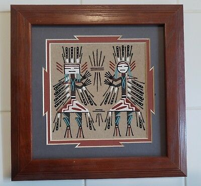 """Framed Navajo Sand Painting -Healing Gods- Wilton Lee 7"""" x 7"""" Signed Very Good"""