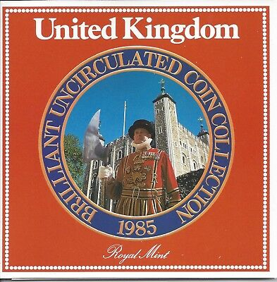 1985 United Kingdom Royal Mint 7 Coin Collection Uncirculated Set