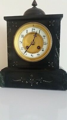 Antique Belgium Slate  & Marble Edged Domed Mantle Clock. Circa 1880 -1890.