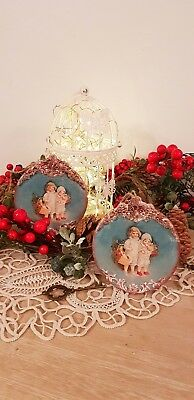 Two Vintage style Christmas decoration.  Unique. Habdmade