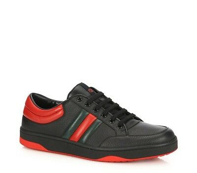 73b3631ecb1 GUCCI SNEAKERS BLACK Red Hightop Designer Shoes 295322 10 G Leather ...