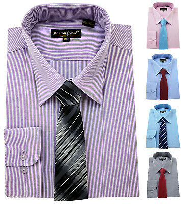 Men's Shirt & Tie set Striped Cotton Classic collar Formal Casual Long sleeve
