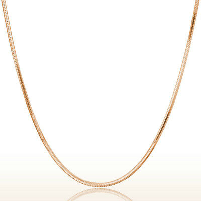 Women's 925 Sterling Silver Rose Gold Color 18Inches Snake Chain Choker Necklace