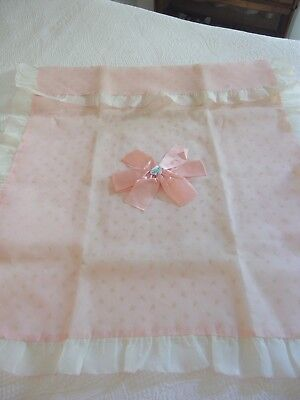 Vintage 1950's Pink Voile Ruffled Crib Cover