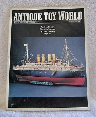 ANTIQUE TOY WORLD MAGAZINE - AUGUST 1992 - WONDERFUL GUIDE for VINTAGE TOYS