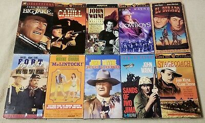 Lot of 10 JOHN WAYNE Western Movies VHS Video Tapes SANDS OF IWO JIMA Big Jake +