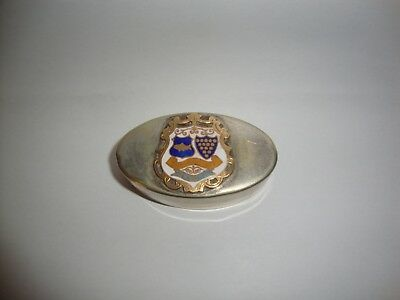 Antique Sydney & Co Silver Plate & Enamel newquay Coat of Arms snuff box