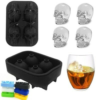 z Silicone 3D Skull Shape Ice Cube Trays Mold Mould Cocktails Whisky Maker UK