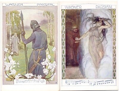 Set of 6 Wagner's Parsifal - Faulkner Series 1417 - lovely condition postcards