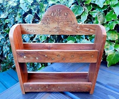 Vintage Wood & Brass Inlaid ASIAN INDIAN Small Wall Display Shelf Stand