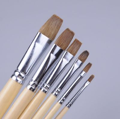Bright Style Paint Brush Painting Brushes Set 6 Piece Red Sable Weasel Hair