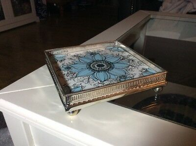 Antique Silver Plated Stand With Pottery Tile