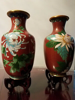 A Pair of Vintage Chinese Cloisonne Vases with wood stands