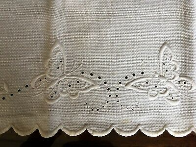 Huck Linen Hand Towel With Butterflies And Scalloped Edges
