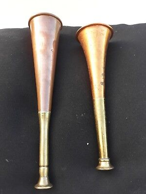 2 x Small Vintage Antique Copper and Brass Fox Stag Hunting Horns