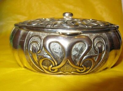 Vintage Art Nouveau Style by Vera Lucino Silver Plated Trinket Box used, SIGNED