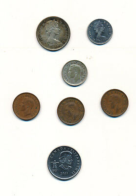 7 CANADIAN COINS 1943-1968 & 2007 (Penny to 25 Cents) CIRCULATED