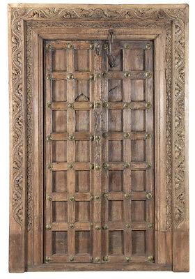 Stunning Bhutan Carved Antique Ornate Wood  Door w/Frame,59'' x 89''H.