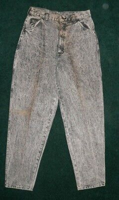 Vtg 80s CARRIAGE COURT ACID WASH BLACK JEANS NOS NEW OLD STOCK USA 31X30