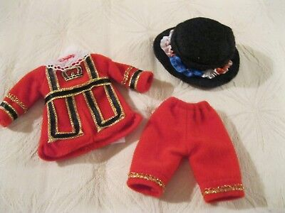 """Madeline 8"""" Doll English Beefeater Outfit Red Velour Fancy Top Pants Felt Hat"""
