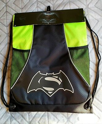 b46298a761f Batman Superman Dawn of Justice drawstring bag backpack NEW Bioworld black  green