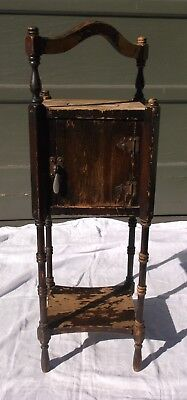 """VINTAGE PIPE/CIGAR/SMOKING STAND/CABINET/TABLE, WOOD, by """"IDEAL 1926 Patented"""""""