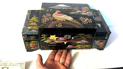 Japanese Hand Painted Black Lacquered Music Jewelry Box With  Ballerina