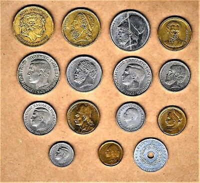 Greece,15 coins;100 Drachmes thru 20 Lepta w/Alexander the Great,Aristotle,Homer
