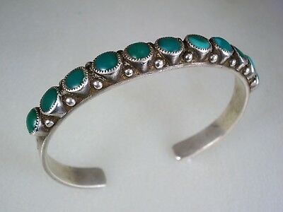 SCARCE OLD Pete Paquin (d.2003) ZUNI STERLING SILVER & TURQUOISE ROW BRACELET