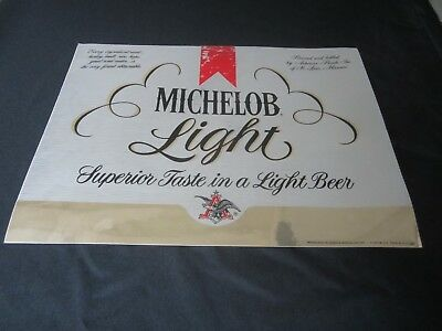 "Vtg MICHELOB LIGHT Beer Alcohol Bar DECAL Diecut SILVER GOLD STICKER 17"" x 13"""