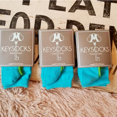Girls Keysocks One Size Lot of 3 Pairs Blue Open for Ballet Flats Back to School