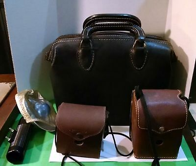 Vintage Camera Lot---Camera Bag and 2 Cameras---1 With Flash Attachment