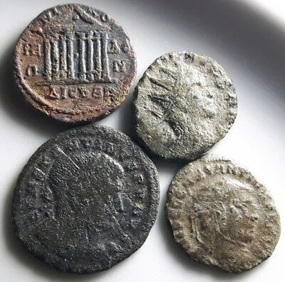 LOT OF 4 ANCIENT ROMAN BRONZE COINS She Wolf , Quadriga ,Rare Nikea Legionary S