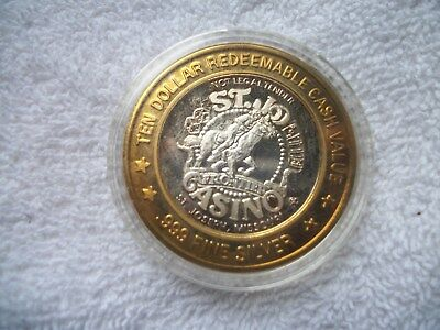 Limited Edition Ten Dollar Gaming Token .999 Fine Silver St. Joesph, MO. Casino
