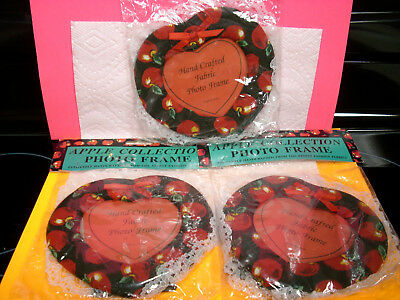 APPLES 3 LOT vintage photo picture frame hand-crafted sewn NOS nip red kitchen