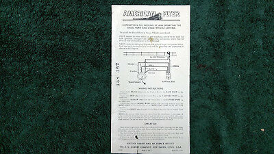 American Flyer M3585 Diesel Horn & Steam Whistle Instruction Photocopy