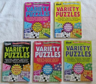 Mixed Lot of 5 Dell OFFICIAL VARIETY PUZZLES Featuring 13 Sudoku Retails $24.95