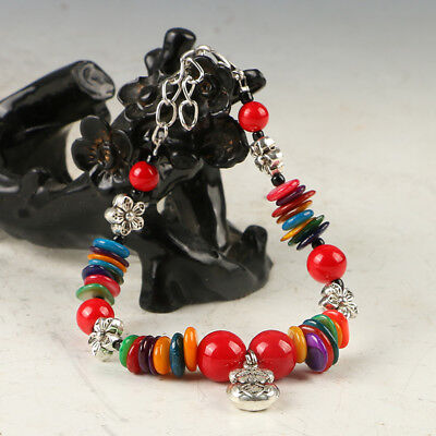 Chinese Natural Red Coral & Tibet Silver Handwork Flower Bracelet  RS024