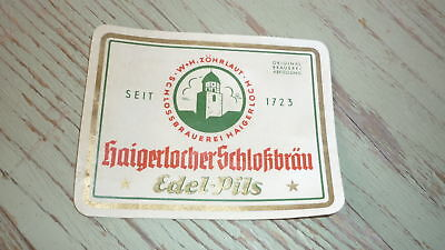 OLD 1940s GERMAN BEER LABEL, BRAUEREI ZOHRLAUT HAIGERLOCH, EDEL PILS