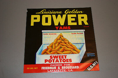 "Vintage Fruit Crate Label: ""Louisiana Golden POWER YAMS"" 1930-39"