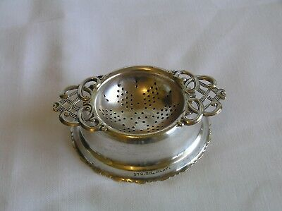 Vintage Sterling Silver Plated Tea Strainer And Stand