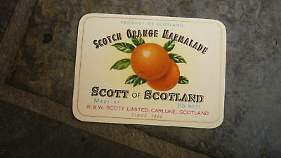 OLD JAM FRUIT LABEL, 1940s SCOTTS of CARLUKE SCOTLAND, ORANGE MARMALADE