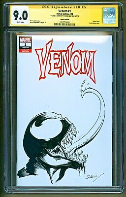 Venom #1 (2018 Marvel) Original Head Sketch Art & Signed Mark Bagley SS CGC 9.0