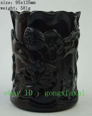 china Rosewood wood carved lotus flower leaves brush pot pencil vase statue e01