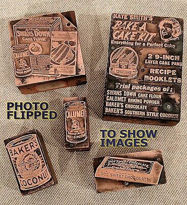 Antique 1920s SET of 5 - Kate Smith's BAKE A CAKE KIT Letterset Printing Blocks