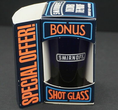 Cobalt Blue Smirnoff Blue Shot Glass Mint in Box