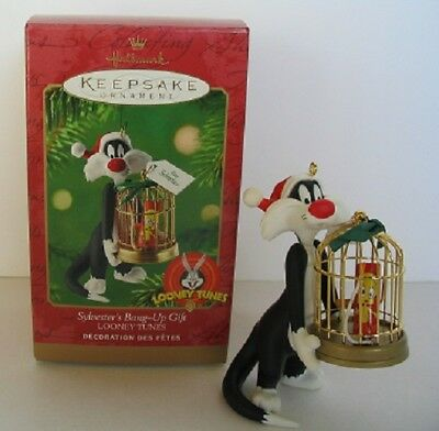Nib Unused Looney Tunes Hallmark Ornament 2000 Sylvester 's Bang-Up Gift