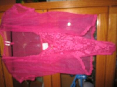 Vintage Bright Pink Teddy Lace And Sheer Nylon Hot Pink Small Secret Treasures
