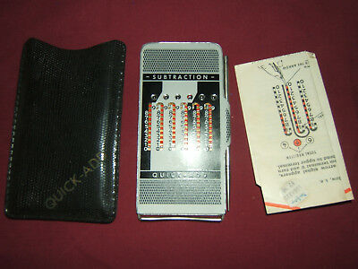 Vintage 'QUICK-ADD'--ADDING & SUBTRACTING MACHINE IN CASE WITH INSTRUCTIONS